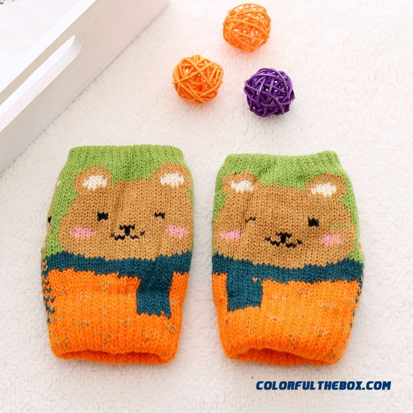 Kids Half-finger Gloves Winter Gloves Shall Cute Boys And Girls Winter Thick Wool Mittens Baby Winter Gloves - more images 3