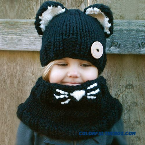 Kids Hat Scarf Set Girls Cap Cartoon Cat Wool Knitted Scarf Neck Strap Hat Two-piece Of Accessories Black