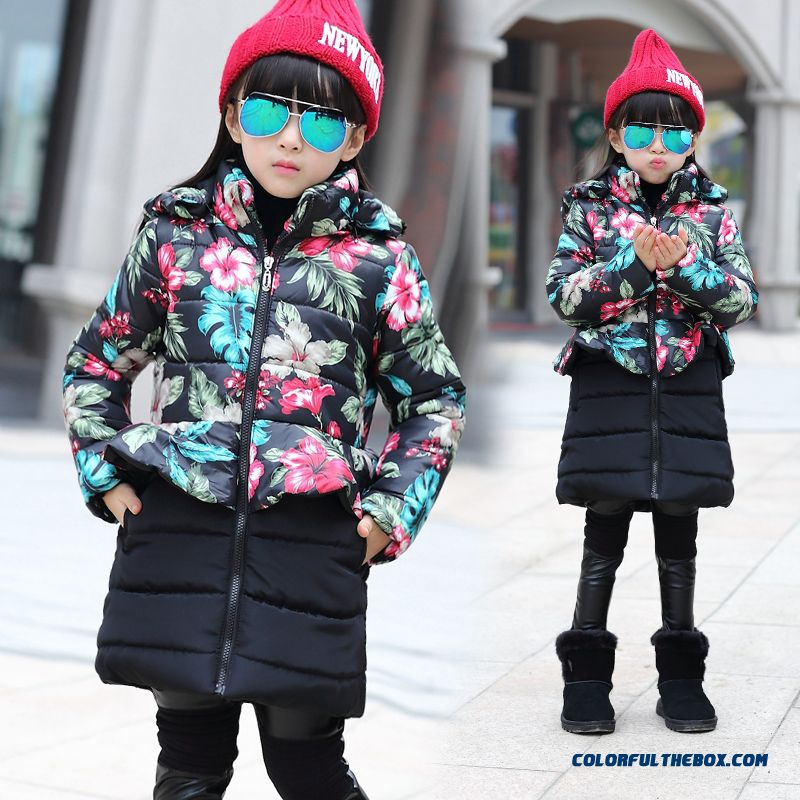 Kids Korean Style Floral Big Kids Cotton Jacket Fake Two Jacket