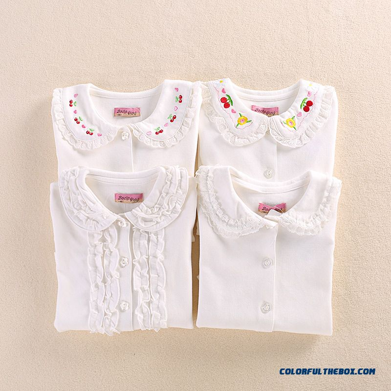 Kids Korean Version Of The Fall Girls Doll Collar Lapellong-sleeved White Shirt Embroidered Bottoming Shirt