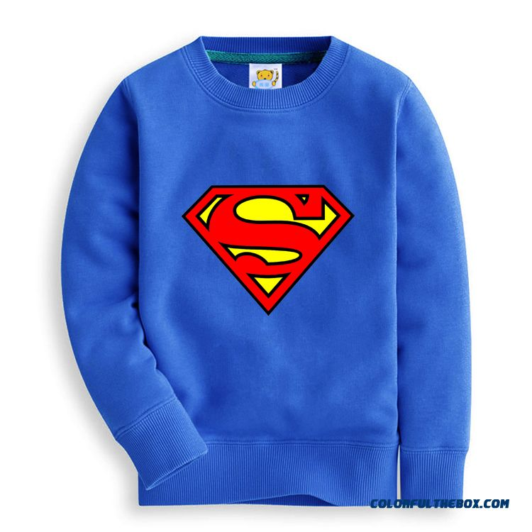 Kids Long Sleeve Cotton Boys Thin Superman Kids Clothing Capless Sweatshirts T-shirt