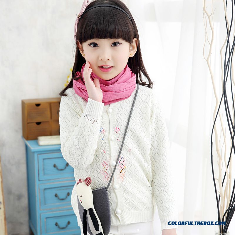 Kids Long-sleeved Sweater Thin Cardigan Sweater 2016 Spring Jacket White Clothing For Girls