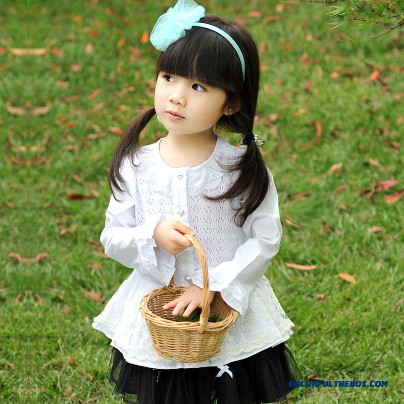 Kids Long-sleeved White All-match Solid Color Girls Lace Cardigan Blouse Hollow Shirt