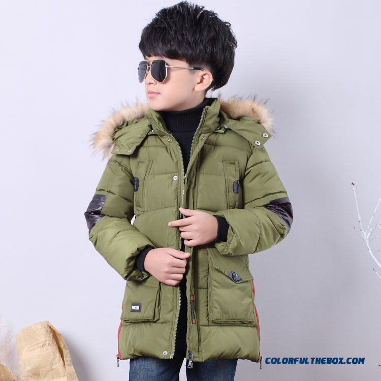 Kids Padded Winter Jacket 2016 New Boy D11 Army Green Western Style