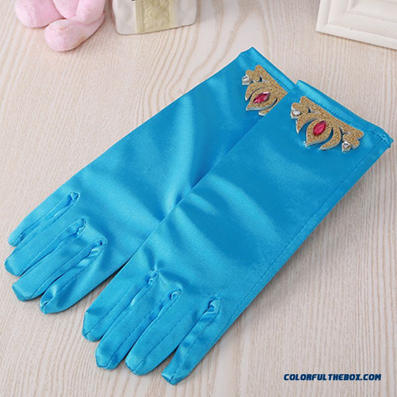Kids Princess Long Gloves Blue Crown Show Mittens Gloves Frozen Aisha Girls Performance Accessories