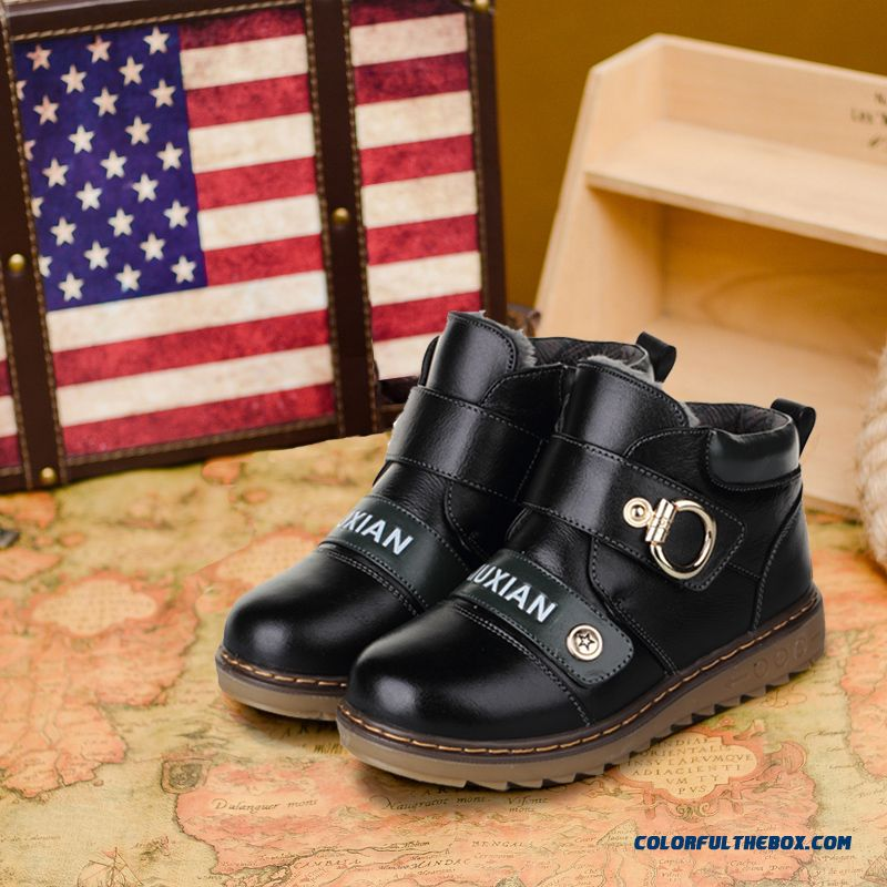 Kids Shoes Cotton Boots Warm Shoes Plus Cashmere Children Boots Winter 100% Cowhide For Boys