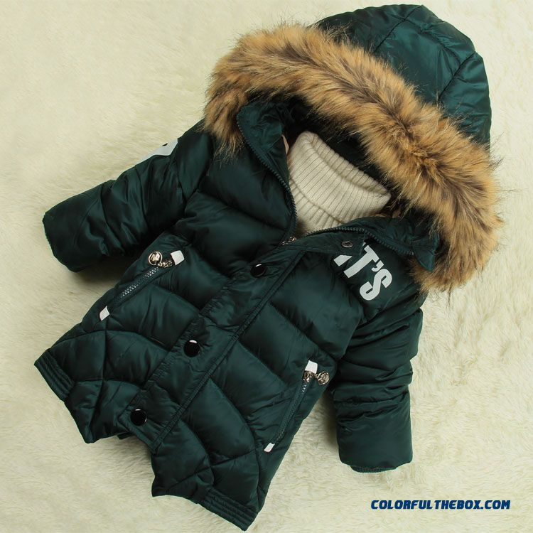 42282aecb ... Kids Thick Padded Winter Coat Baby Hooded Jacket Nagymaros Collar For  Boys ...