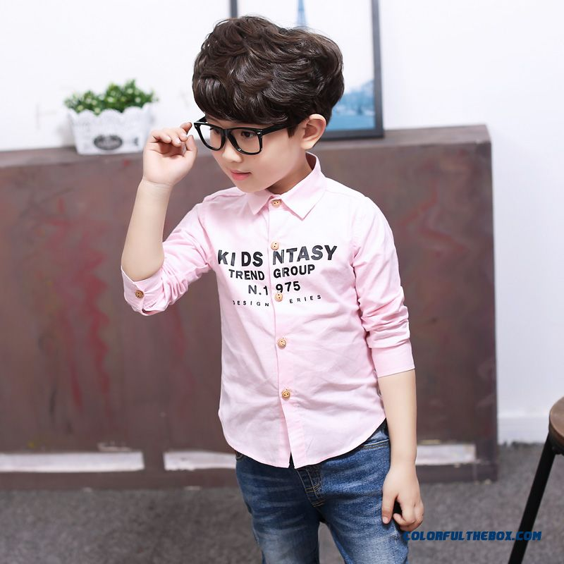 Kids Vogue Blouses Boys Long-sleeved Cotton Printed Shirt Spring Models All-match