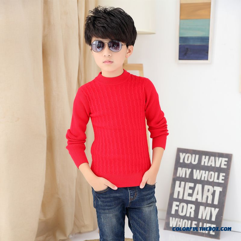 Kids Weater Boy Pullover Sweater Wool Cashmere Knit Bottoming Shirt Long Sleeve Warm Clothing - more images 1