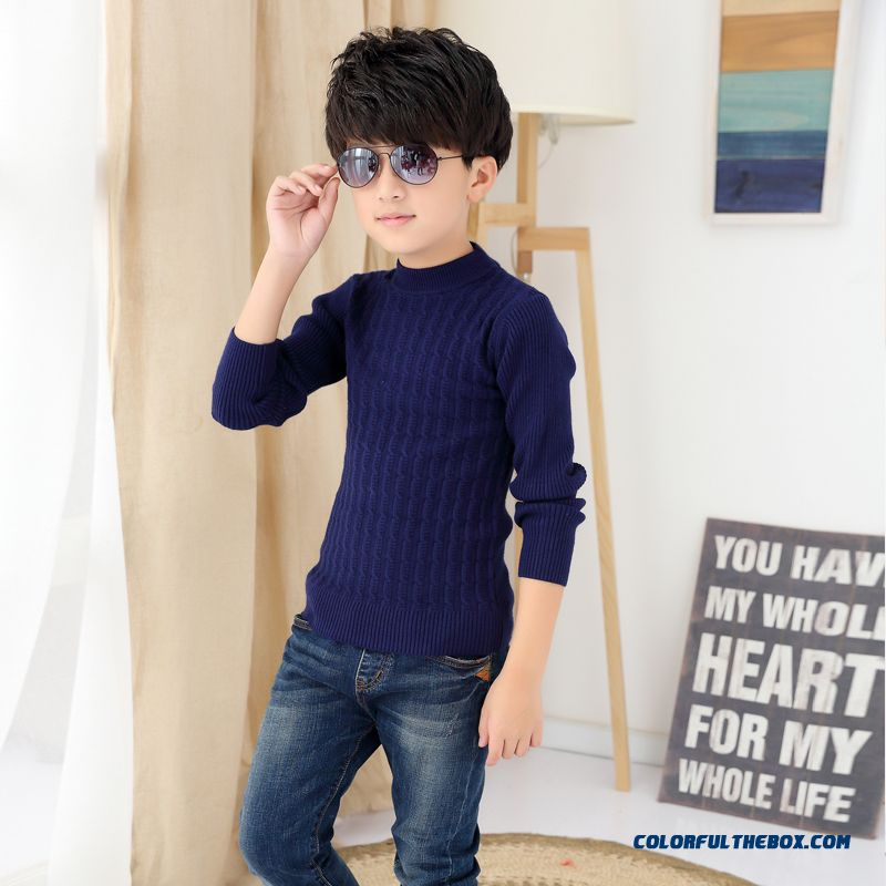 Kids Weater Boy Pullover Sweater Wool Cashmere Knit Bottoming Shirt Long Sleeve Warm Clothing - more images 2