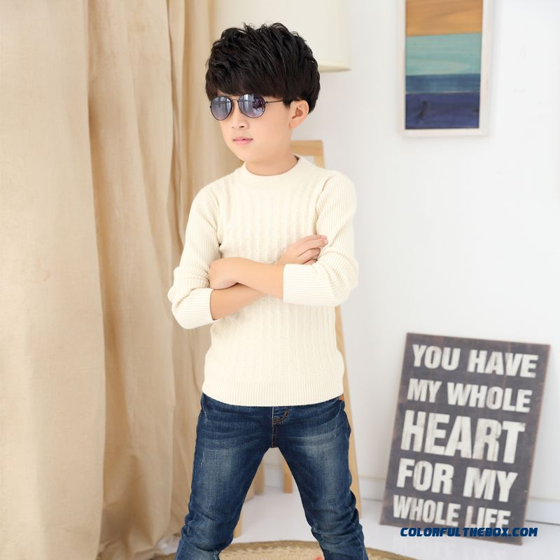 Kids Weater Boy Pullover Sweater Wool Cashmere Knit Bottoming Shirt Long Sleeve Warm Clothing - more images 3