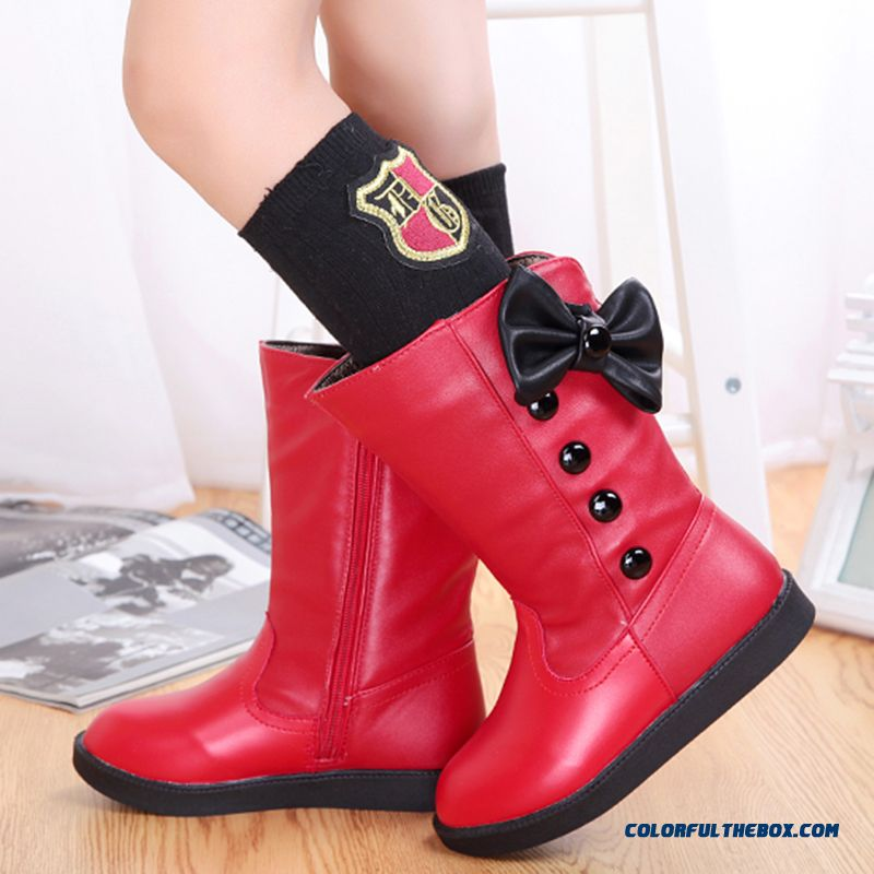 Knee Boots Plus Velvet Genuine Leather Children Princess Snow Boots Mshoes Brand 2016 Fashion Winter For Kids Girls