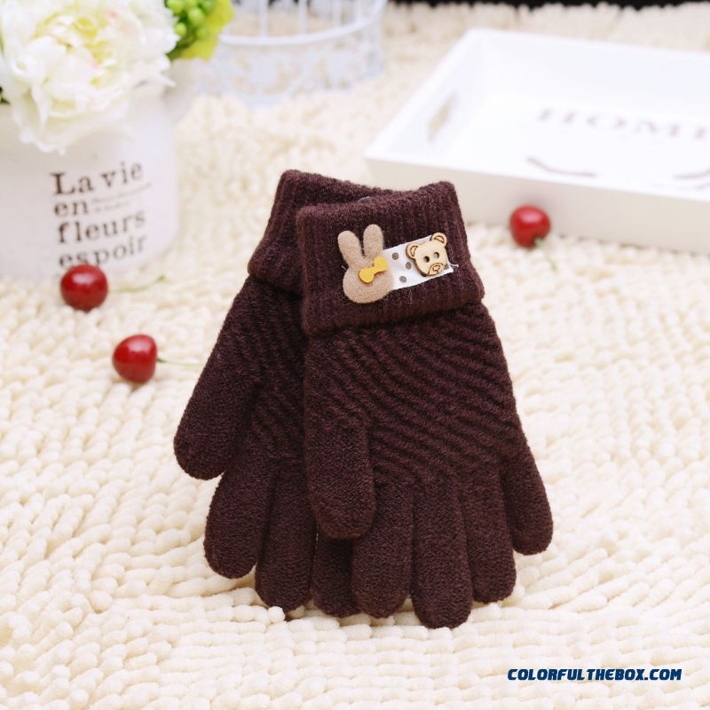 Korean Children Warm Winter Gloves Baby Kids Cartoon Full Fingers Mittens