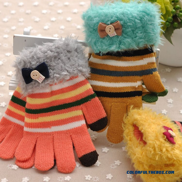 Korean Fashion Child Kids Mittens Flanging Lady Thick Five Fingers Boys Girls Student Touch Screen Autumn & Winter Cute Striped Wool Gloves