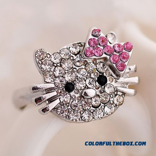 Korean Fashion Cute Cat Full Of Diamond Bowknot Ring Opening Factory Promotions Jewelry For Women