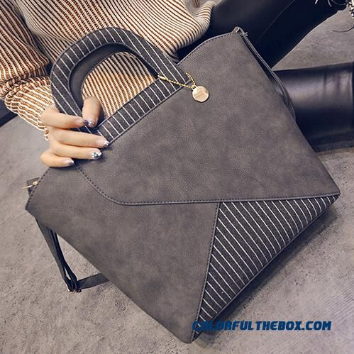 Korean Fashion Nubuck Leather Top-handle Bags Hit Color Casual Women Bags