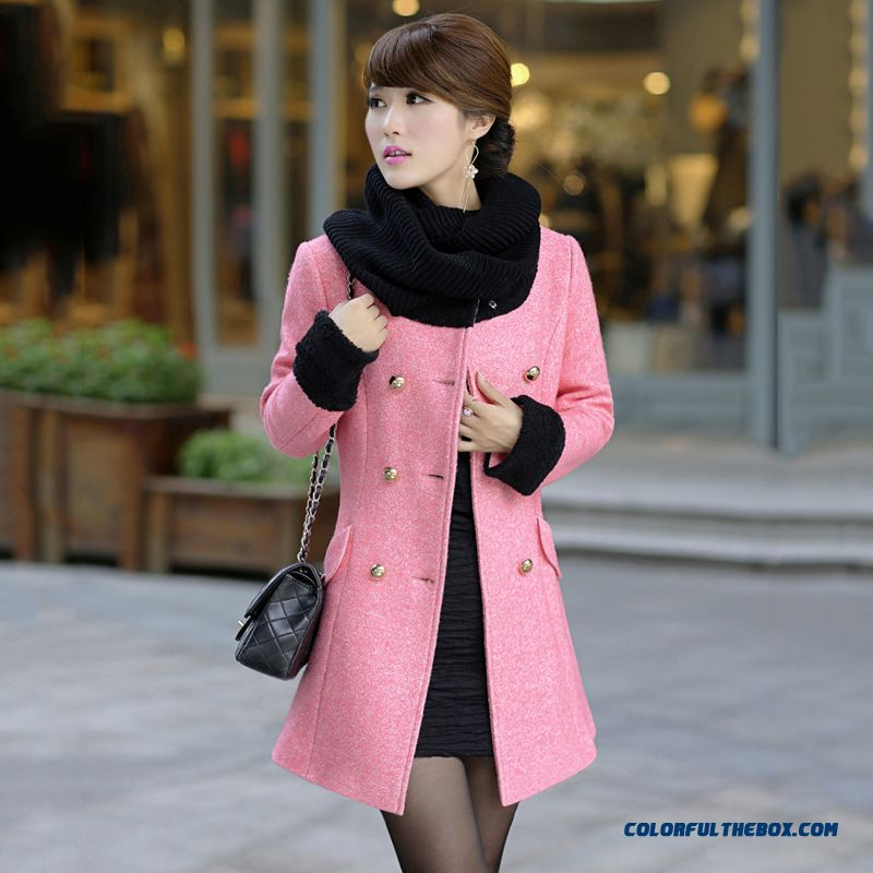 Korean Fashion Stitching Round Neck Medium-long Ol Temperament Windbreaker Women Coat