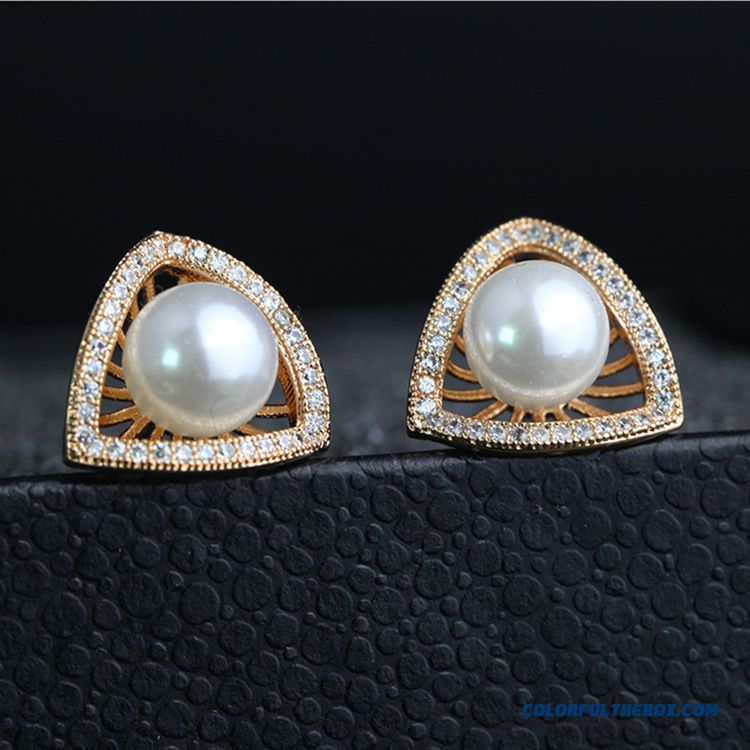 Korean High-end Microscopic Setting Zircon Stud Earrings Pearl Ear Jewelry Jewelry Special For Women