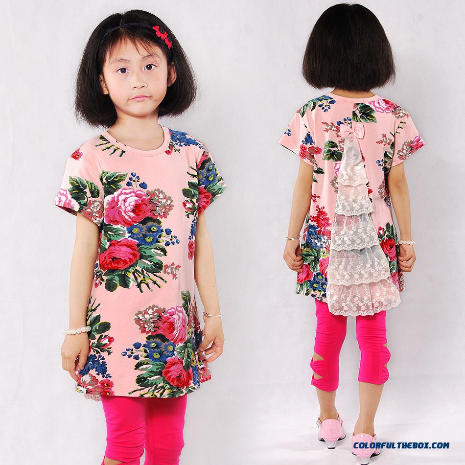 Korean Style Children Kids Cotton Short-sleeved Mediun-long Floral T-shirt For Girls