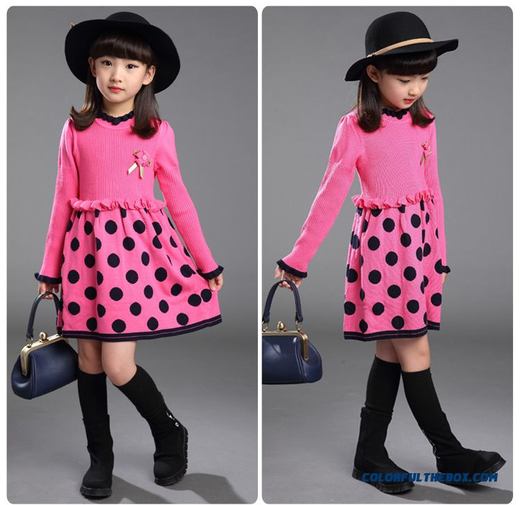Korean Style Design For Girls Fashion Dot Lace Double Knit Dress