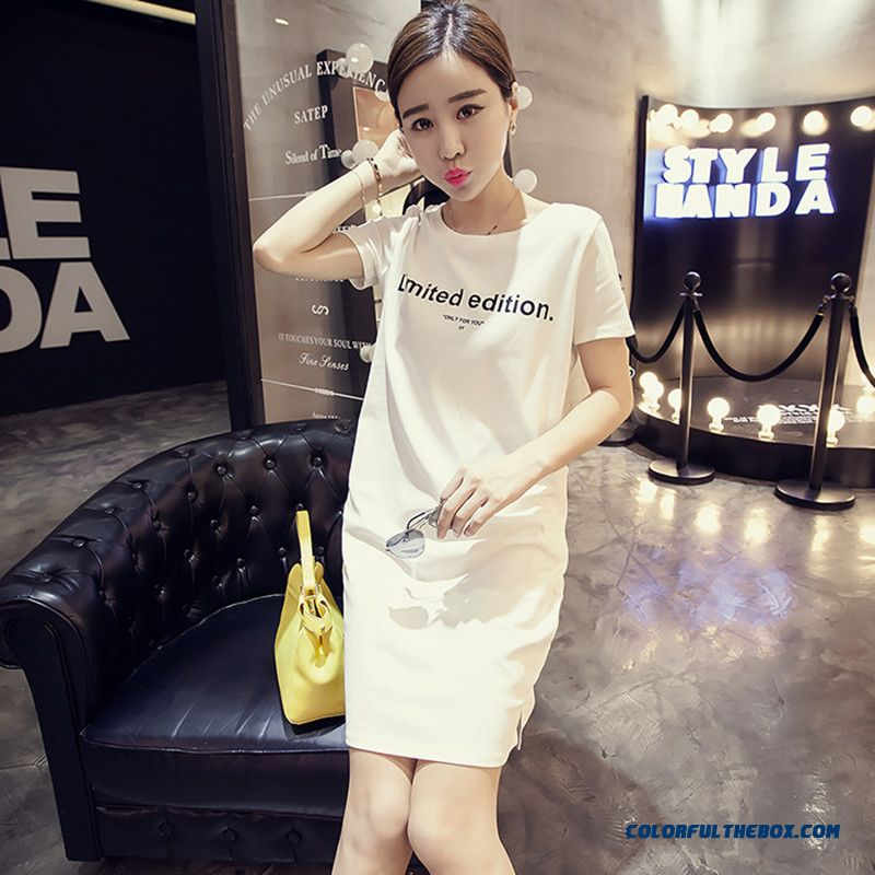 Korean Style Design Women Dress In Spring And Summer Short-sleeved T-shirt Printing Bottoming Dress