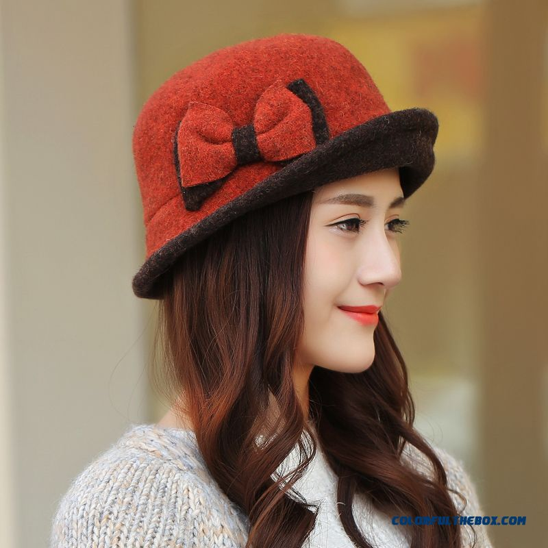 Korean Style Tidal Warmth Bowknot Elegant Fashion Hat Accessories Design For Women