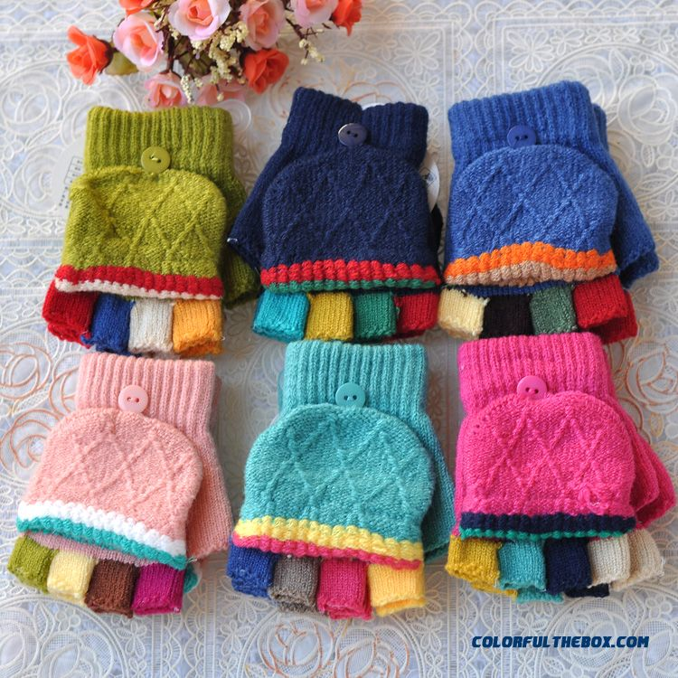 Korean Version Kids Mittens Warm Winter Half-finger Clamshell Fingerless Wool Writing Outdoor Boys And Girls Free Shipping