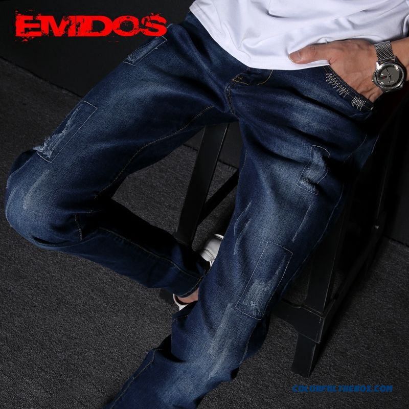 Korean Version Of Men Slim Straight Elastic Youth Jeans On Sale