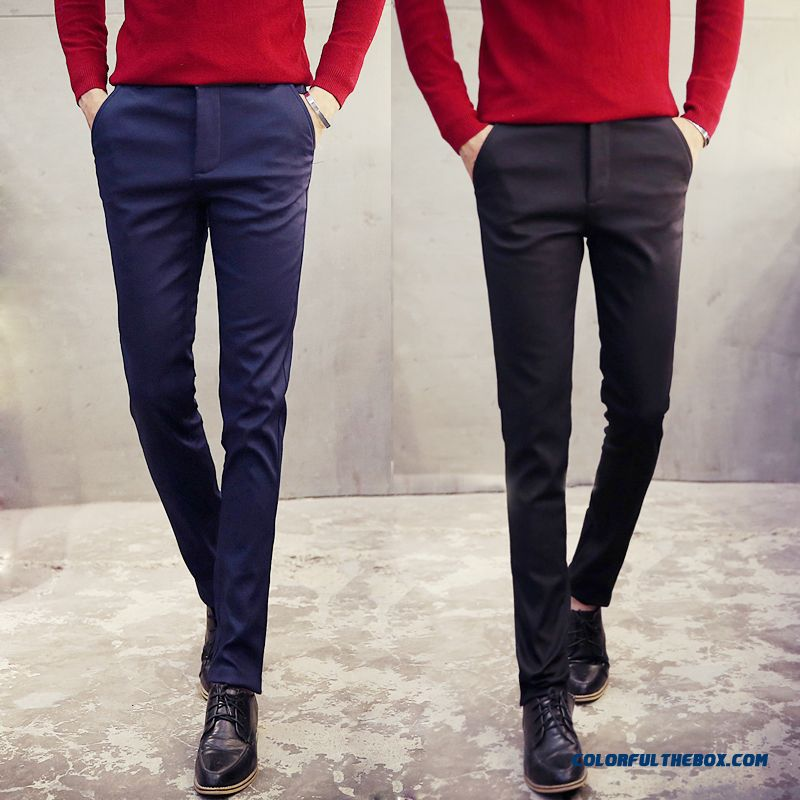 Korean Version Of Men's Casual Cotton Slim Straight New Winter Clothing Pants - more images 1