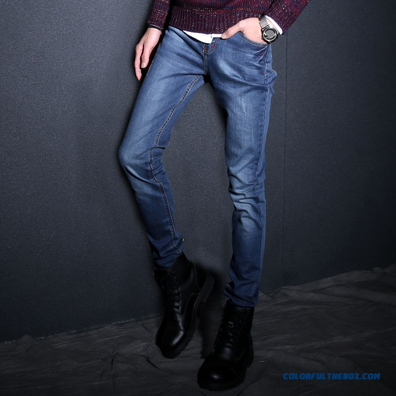Korean Version Of Slim Tide Men Straight Elastic Jeans Blue Handsome