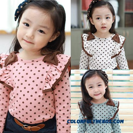 Korean Version Of The New Children's Clothing Baby Girls Bowknot Long-sleeved T-shirt