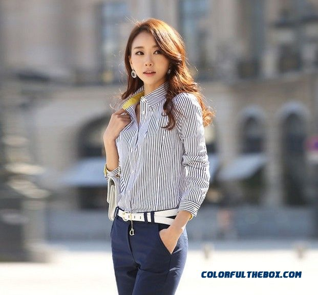 Korean Version Of The Slim And Thin Vertical Stripes Long-sleeved Large Size Business Attire Shirt Blouse For Women