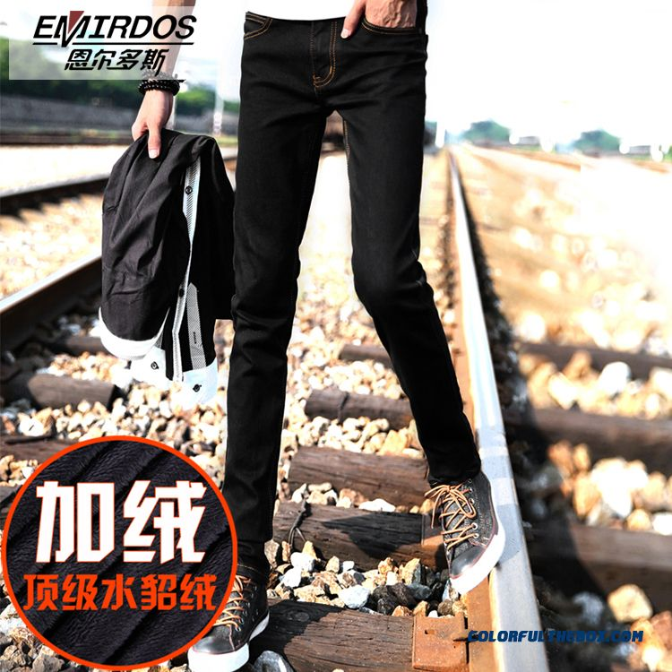 Korean Version Of The Tide Men Plus Velvet Jeans Slim Black Elastic Youth