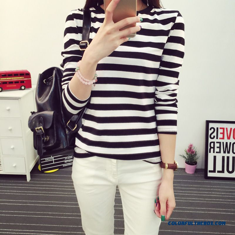 Korean Version Of The V-neck Blouses Long-sleeved Women T-shirt Black And White Striped Bottoming Shirt
