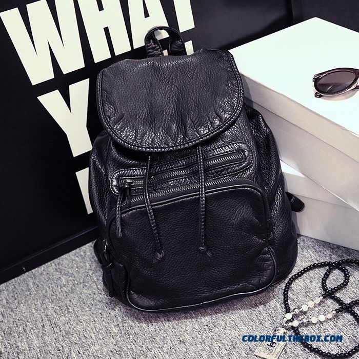 Korean Version Of Washed Leather Ladies Backpack Buff Schoolbags Dual Purpose Backpack For Women