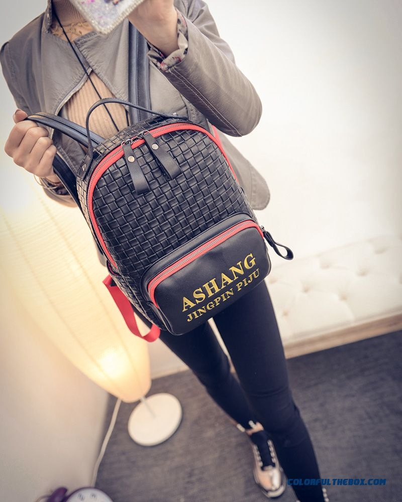 Korean Version Of Weave Stitching Backpack Casual Backpack Traveling Bags For Women