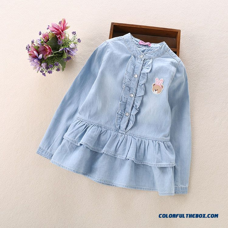 Korean Version Of Winnie 2016 Spring New Lace Collar Cotton Denim Shirt Long Sleeved For Kids
