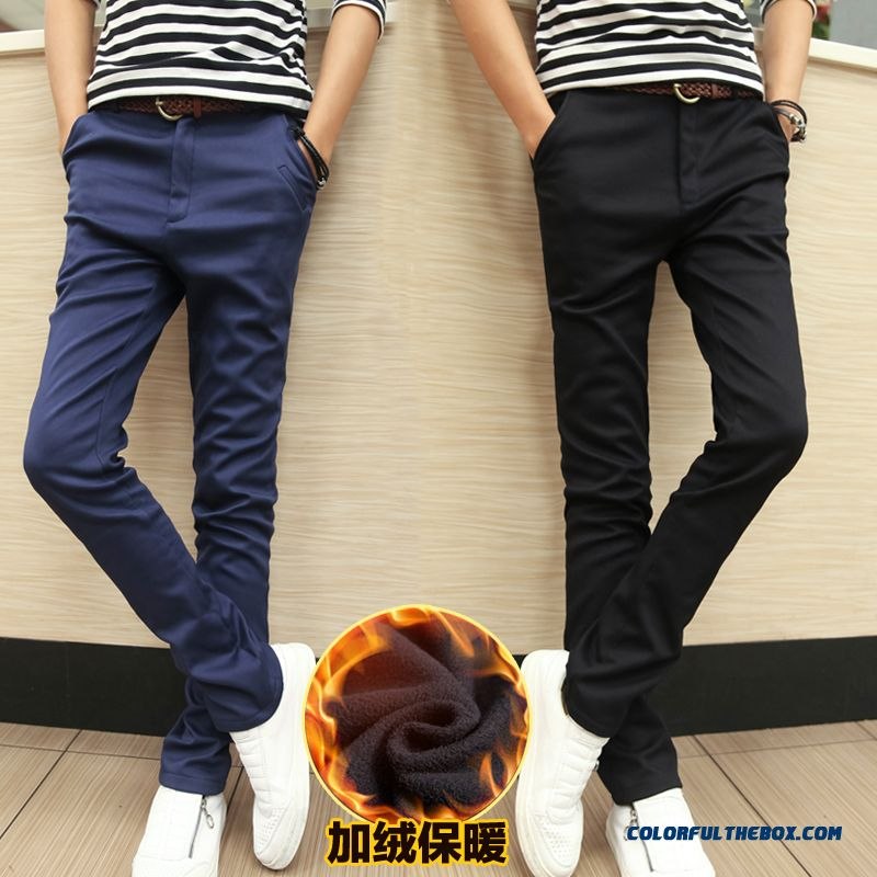 Korean Version Slim Casual Men Plus Velvet Thick Warm Winter Pants