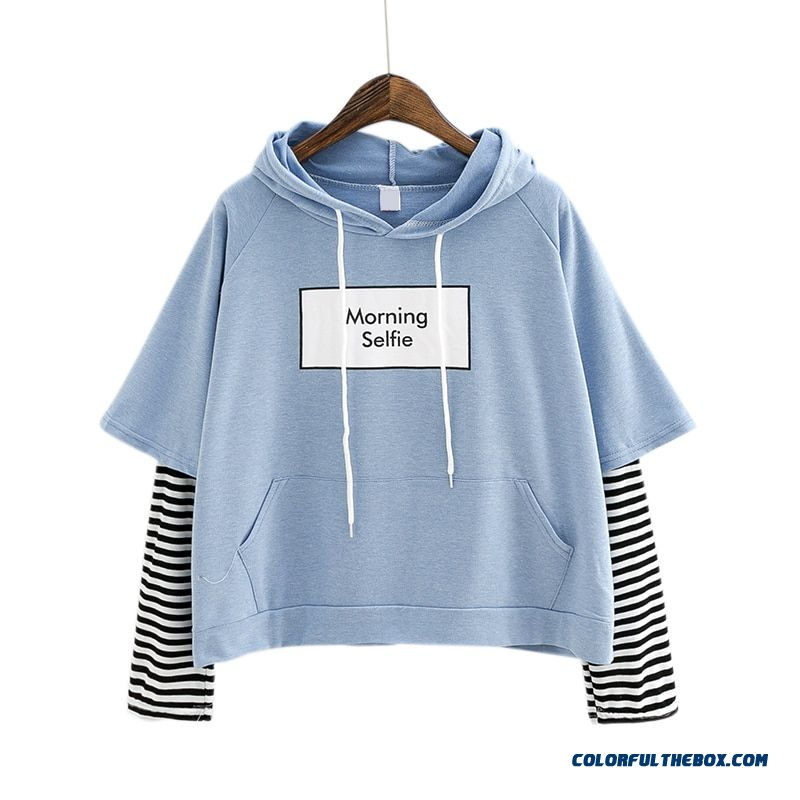 Kpop New Autumn Women Sweatshirt Fashion Striped Sleeve Patchwork Casual Hoodies Cotton Spring Kpop Harajuku Exo Clothes