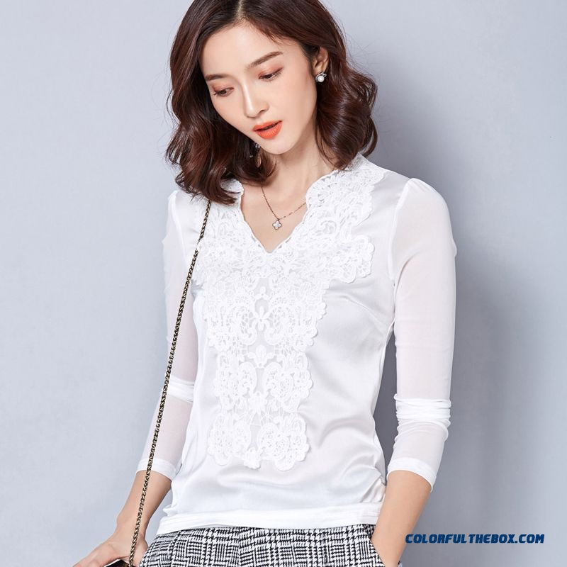 Lace Stitching Slim High Quality Fabrics Three Color Available Long-sleeved Chiffon Shirts Women Blouses