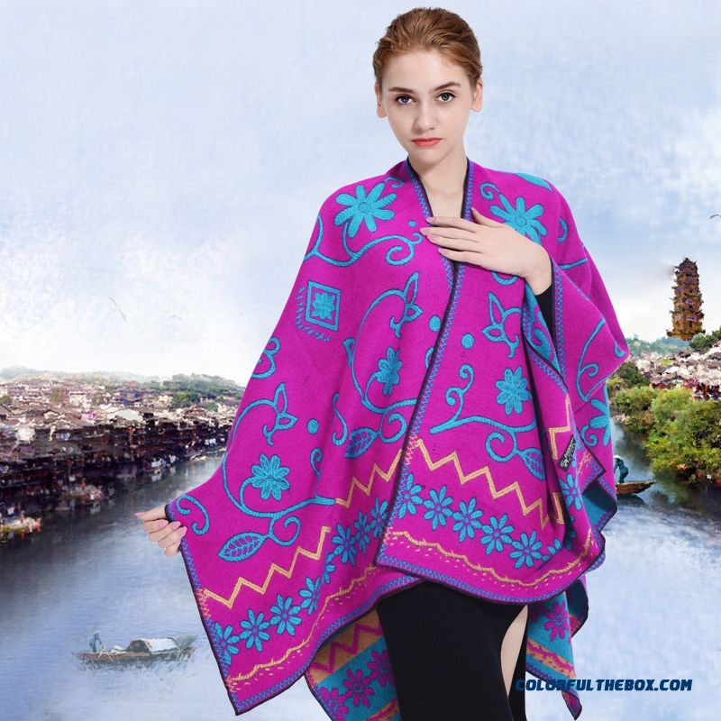 Ladies Autumn And Winter Thick Warm Shawl Ethnic Style Travel Doul-sided Women Scarf Shawl