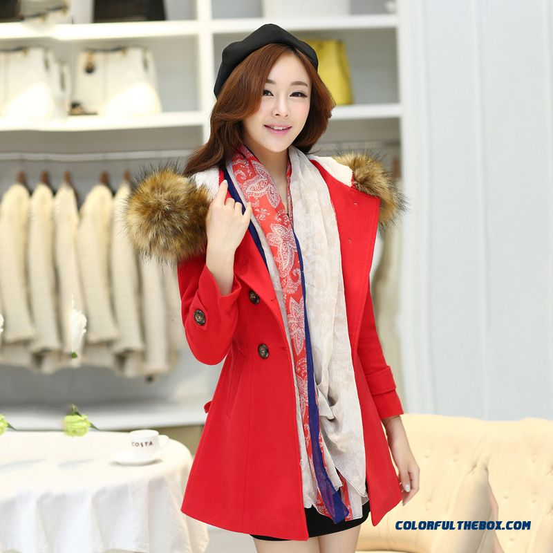 Ladies Clothing Slim Long Woolen Coat Hooded Windbreaker Coat