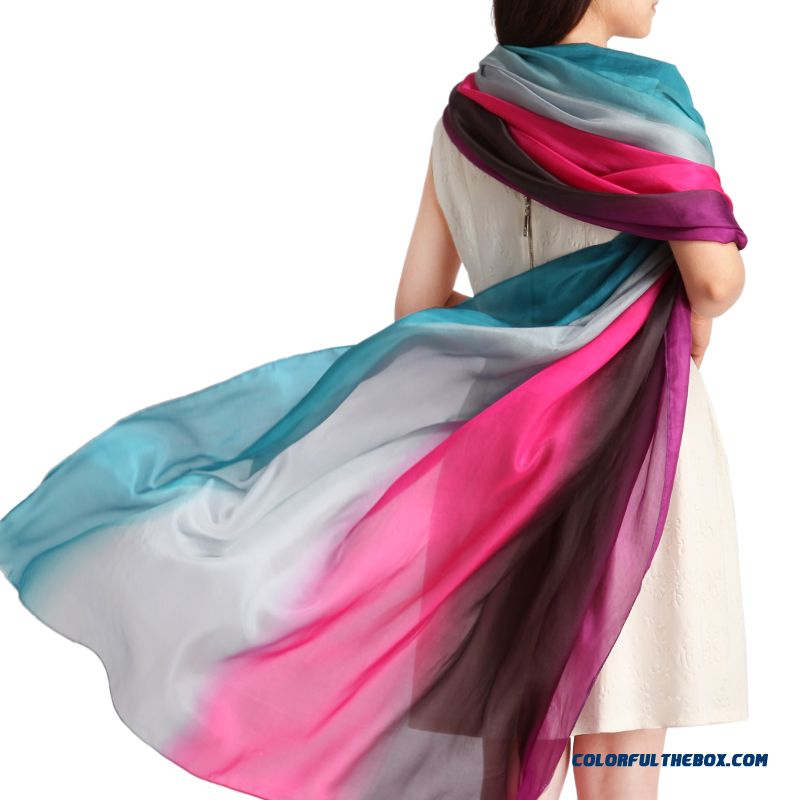 Ladies New Pure Silk Hand-painted Silk Scarves Long Shawl Graded Color Women Accesssories Top Quality