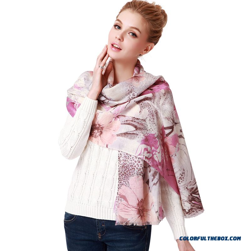 Ladies Pure Wool Soft Warm Skin-friendly Fashion Printed Long Scarf Shawl On Sale
