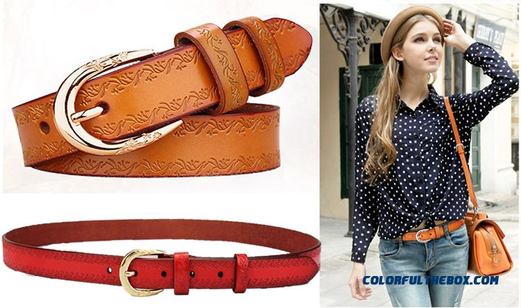 Ladies Thin Belt Printing Hot Sale Accessories Decorated Leather Women Belt With Jeans Lengthen