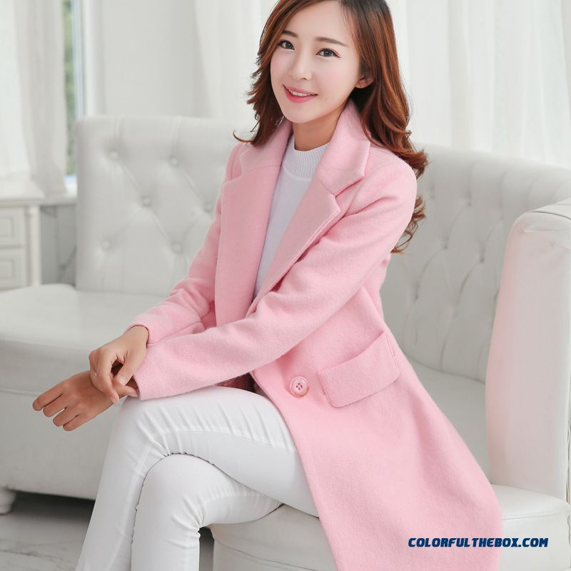 Ladies Winter Preferred Elegant Temperament Slim Korean Version Woolen Coat