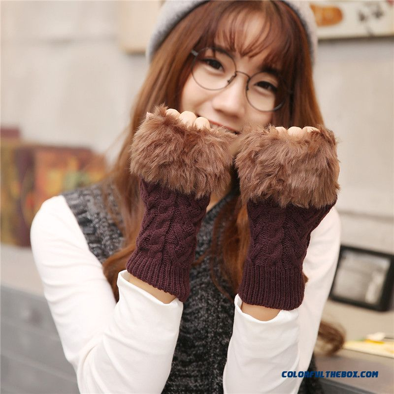 Ladies Winter Preferred Women's Knitted Wool Plus Velvet Warm Fingerless Gloves Arm Mittens