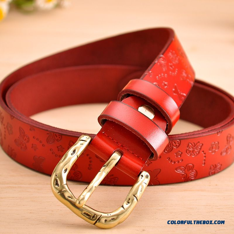 Ladies Women Genuine Leather Belt Decorative Red Belt Wide Fashion Cowhide Pin Buckle All-match Jeans Belt