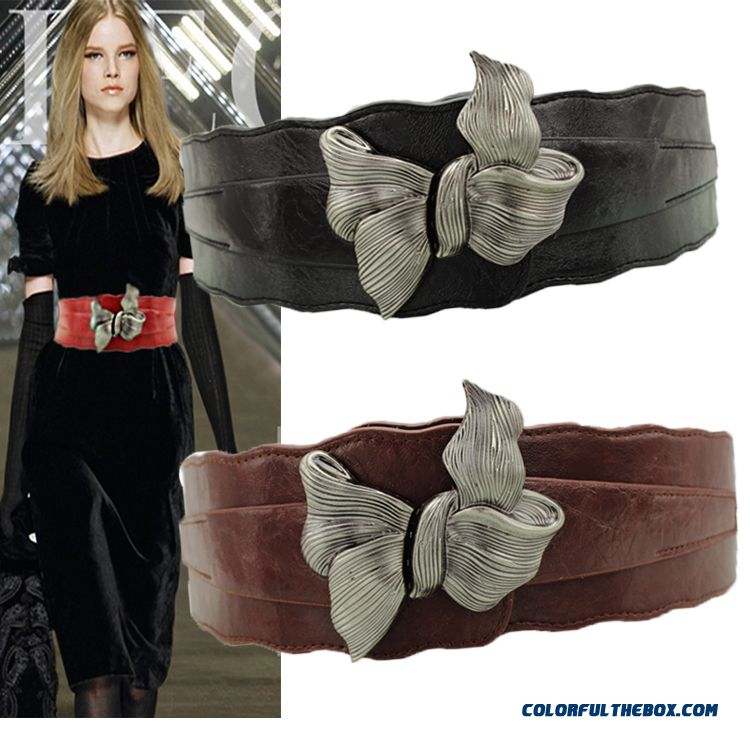 Ladies Women Genuine Leather Extra Wide Belt Coat Down Jacket Cummerbund Decoration Accessories