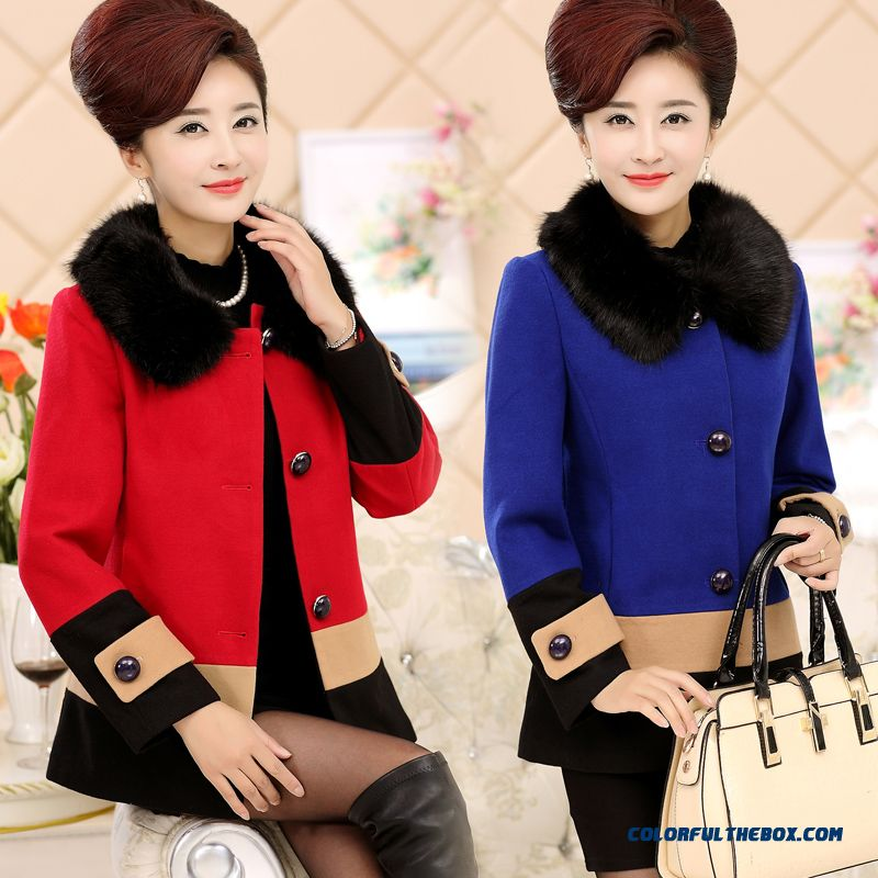 Ladies Wool Coat Mother Dclothing Short Winter Fur Collar Cashmere For Women